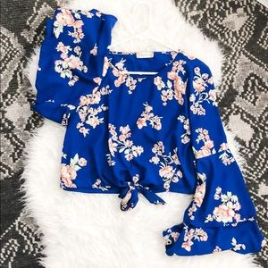 Blue floral blouse with bell sleeves
